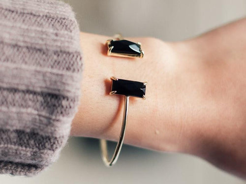Rectangle Black Onyx 14K Gold Cuff Bracelet