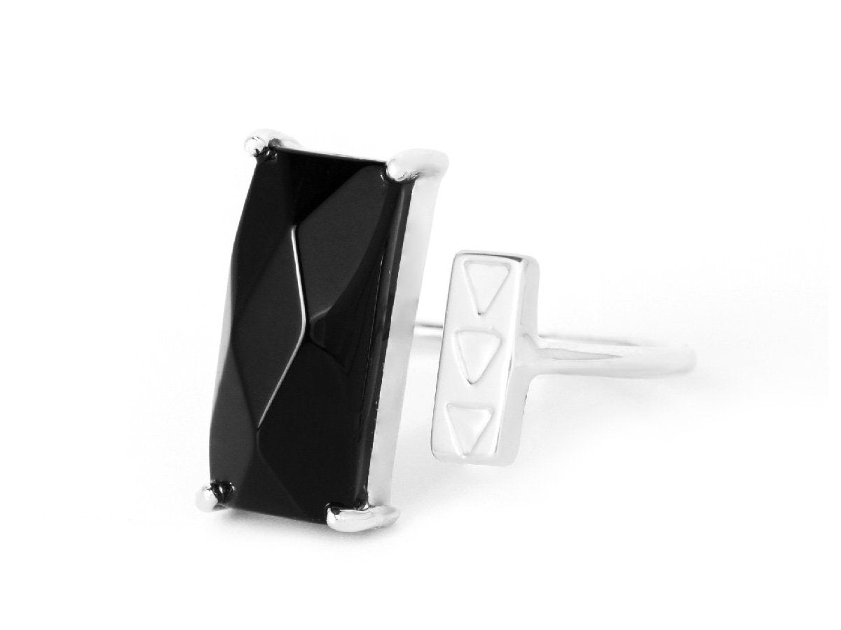 Rectangle Black Onyx Sterling Silver Ring