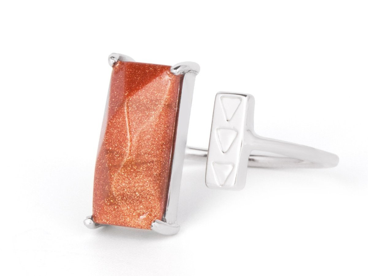 Rectangle Gold Stone Sterling Silver Ring