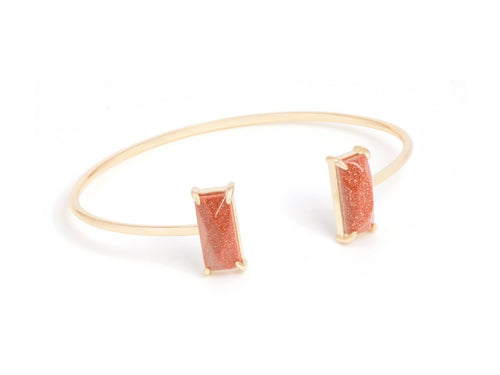 Rectangle Goldstone 14k Gold Cuff Bracelet