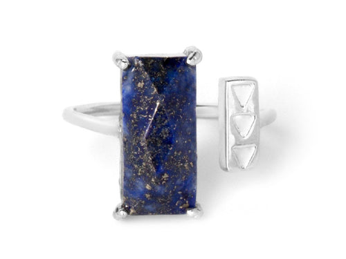 Rectangle Lapis Sterling Silver Ring
