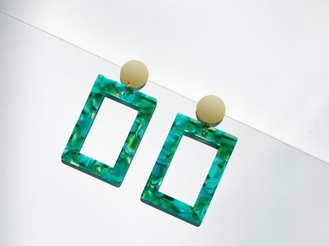 Emerald Abstract Hoop Resin Earrings