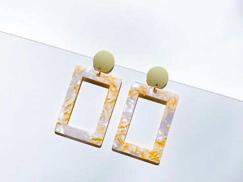 Rectangular Emerald Resin Drop Earrings