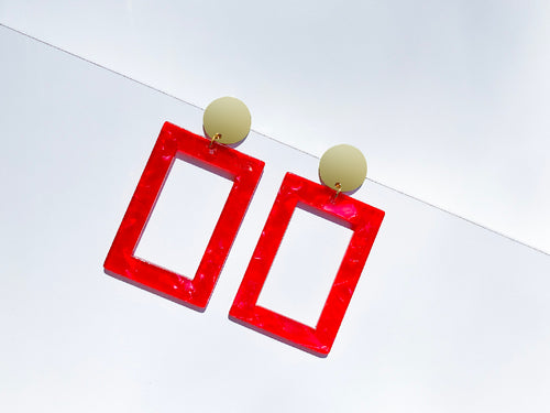 Rectangular Red Resin Drop Earrings