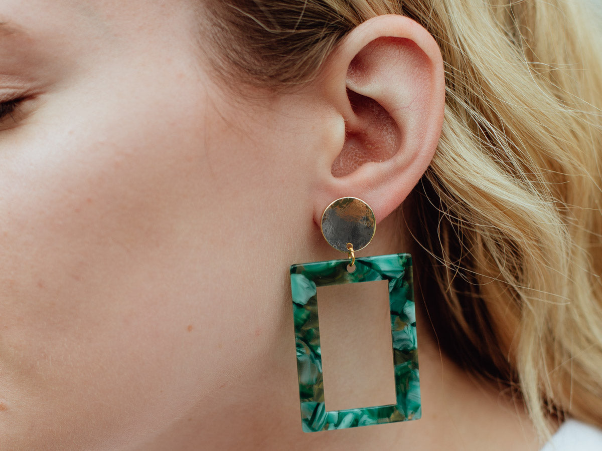 Rectangular Resin Drop Earrings