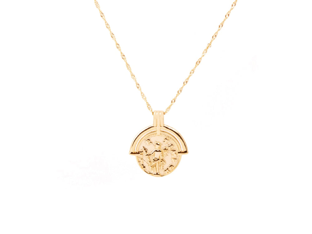 Roman Arc Coin 14k Gold Necklace