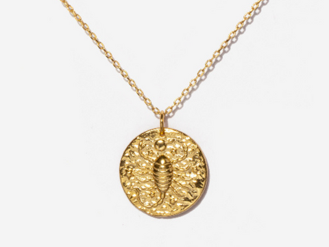 Aries Zodiac Coin 14k Gold Necklace