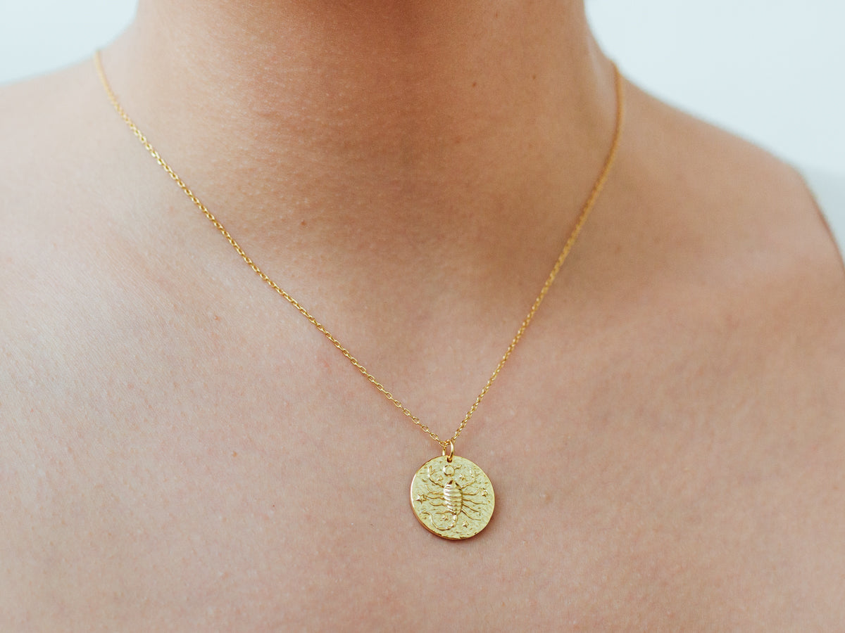 Scorpio Zodiac Coin 14k Gold Necklace