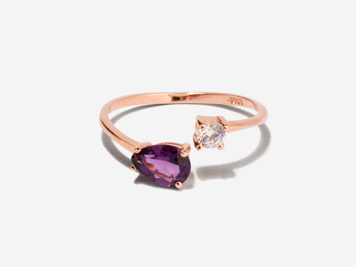 Serpentine Amethyst Wrap Rose Gold Ring