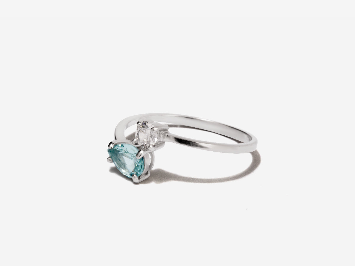Serpentine Aquamarine Sterling Silver Wrap Ring