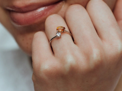 Serpentine Citrine Sterling Silver Wrap Ring