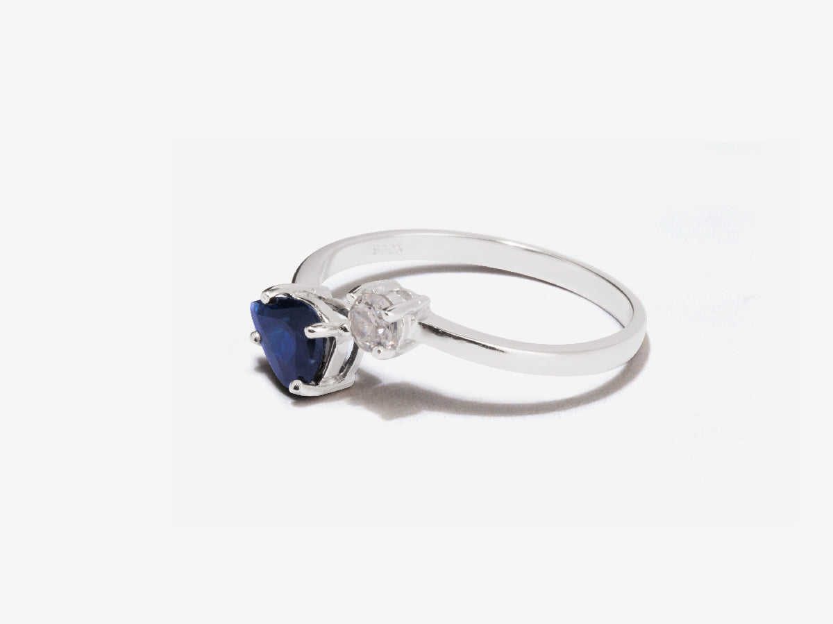 Serpentine Dark Blue Sapphire Sterling Silver Wrap Ring