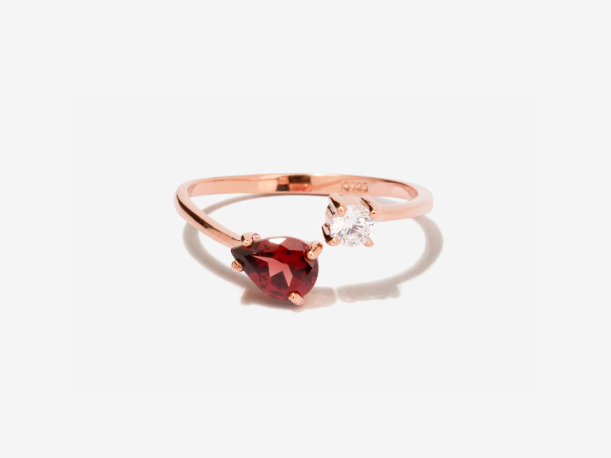 Serpentine Garnet Rose Gold Wrap Ring