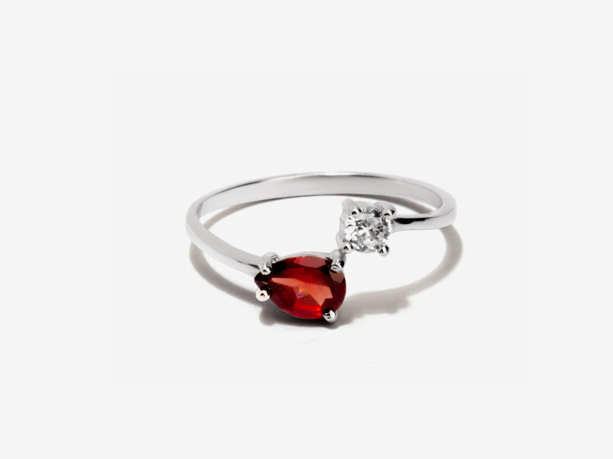 Serpentine Garnet Sterling Silver Wrap Ring