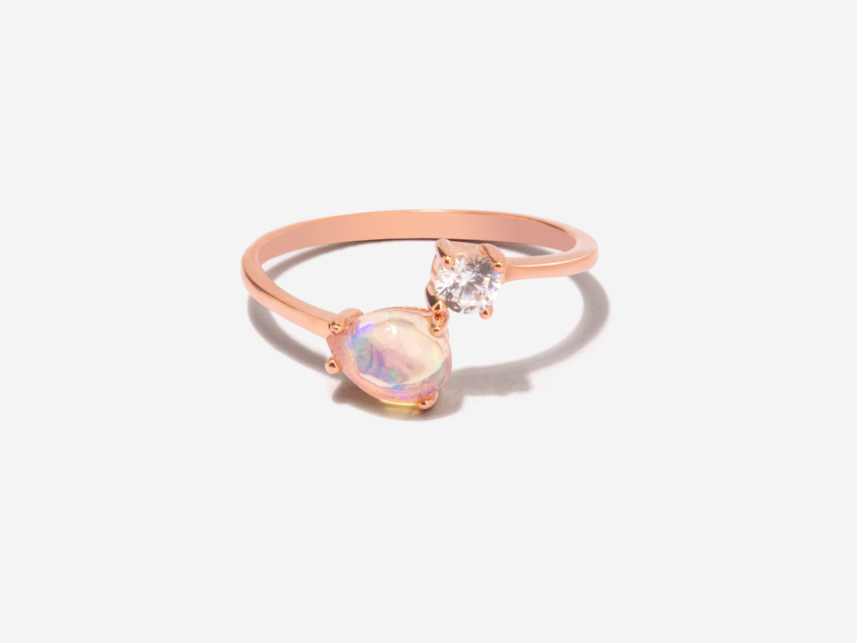 Serpentine Opal Rose Gold Wrap Ring