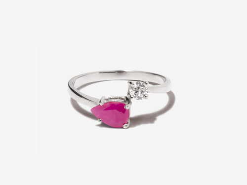 Serpentine Ruby Sterling Silver Wrap Ring