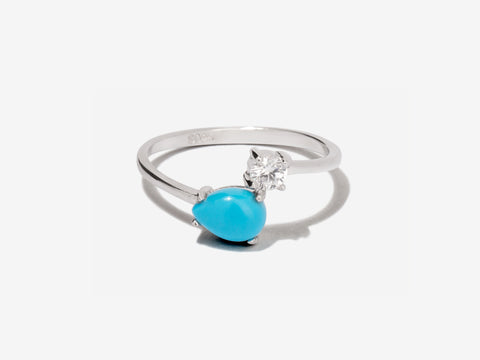 Crescent Turquoise Rose Gold Ring