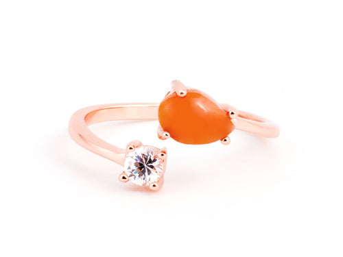 Serpentine Coral Rose Gold Wrap Ring
