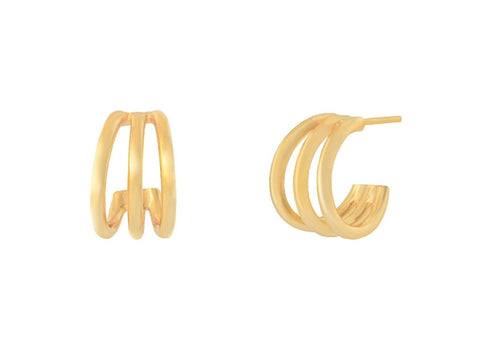 Beaded Opal 14k Gold Huggie Earrings
