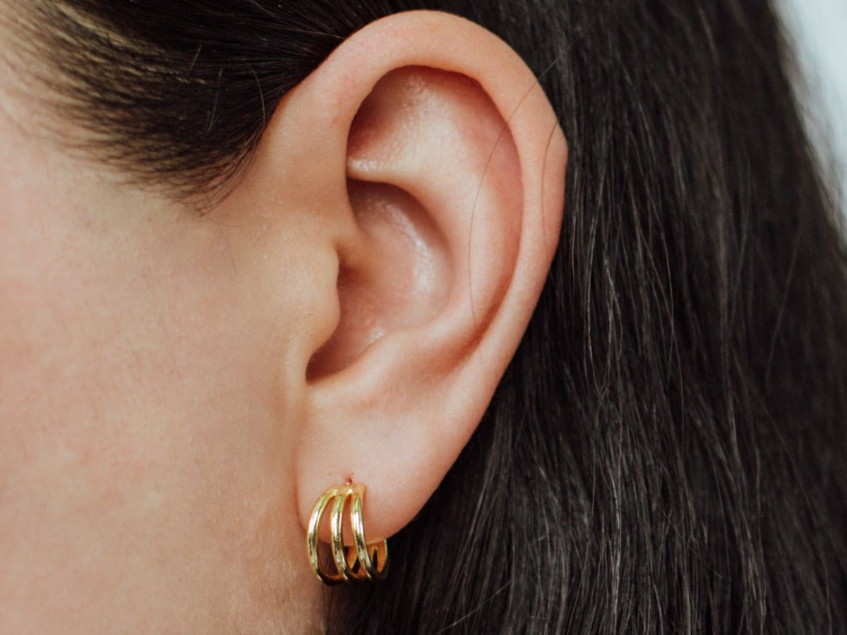 Sirena Triple Hoop Huggie Earrings in 14K Gold