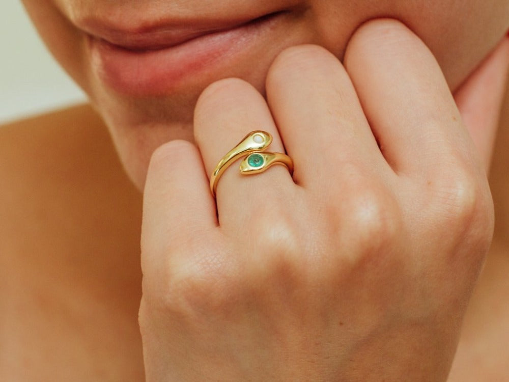 Snake Emerald and Opal 14K Gold Ring