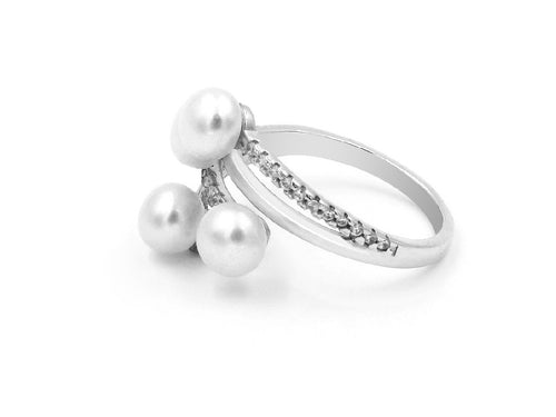 Stacked Freshwater Pearl Sterling Silver Ring in Columbus Ohio