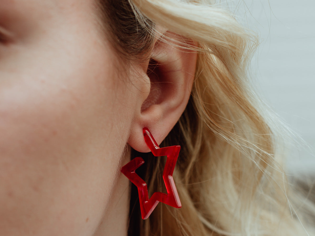 Star Resin Hoop Earrings