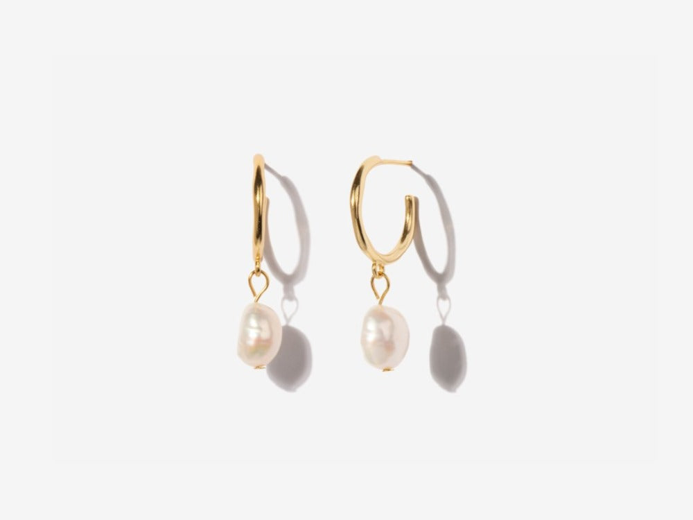 Stephanie Pearl 14K Gold Hoop Earrings