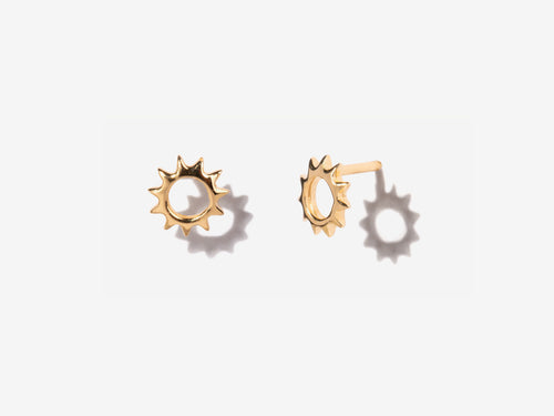 Sunburst Stud Earrings in 14K Gold