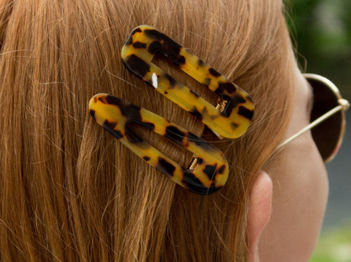 Tasha Acrylic Hair Clip Set of 2 - Orange/Brown