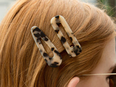 Tasha Acrylic Hair Clip Set of 2 - Taupe/Black