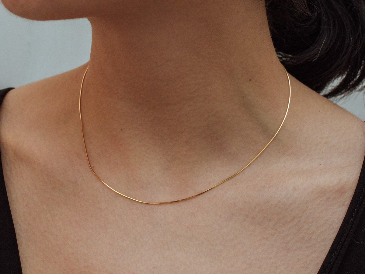 Thin Snake Chain Necklace in 14K Gold