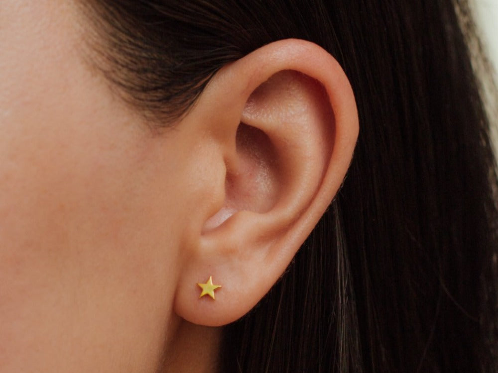 Tiny Star Earrings in 14K Gold