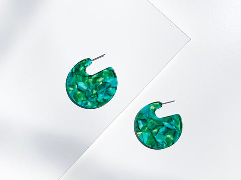 Circle Emerald Drop Resin Earrings