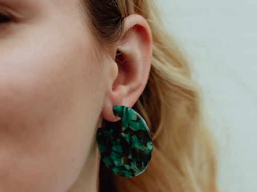 Tortoiseshell Disc Resin Earrings