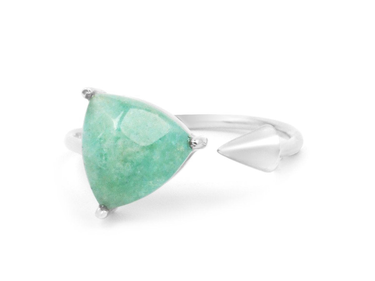 Triangle Aventurine Quartz Sterling Silver Ring