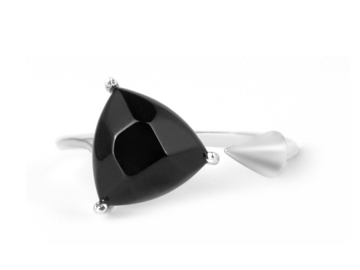 Triangle Black Onyx Sterling Silver Ring