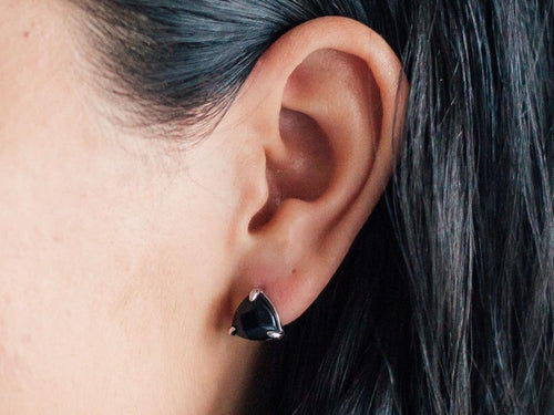Triangle Black Onyx Stud Earrings
