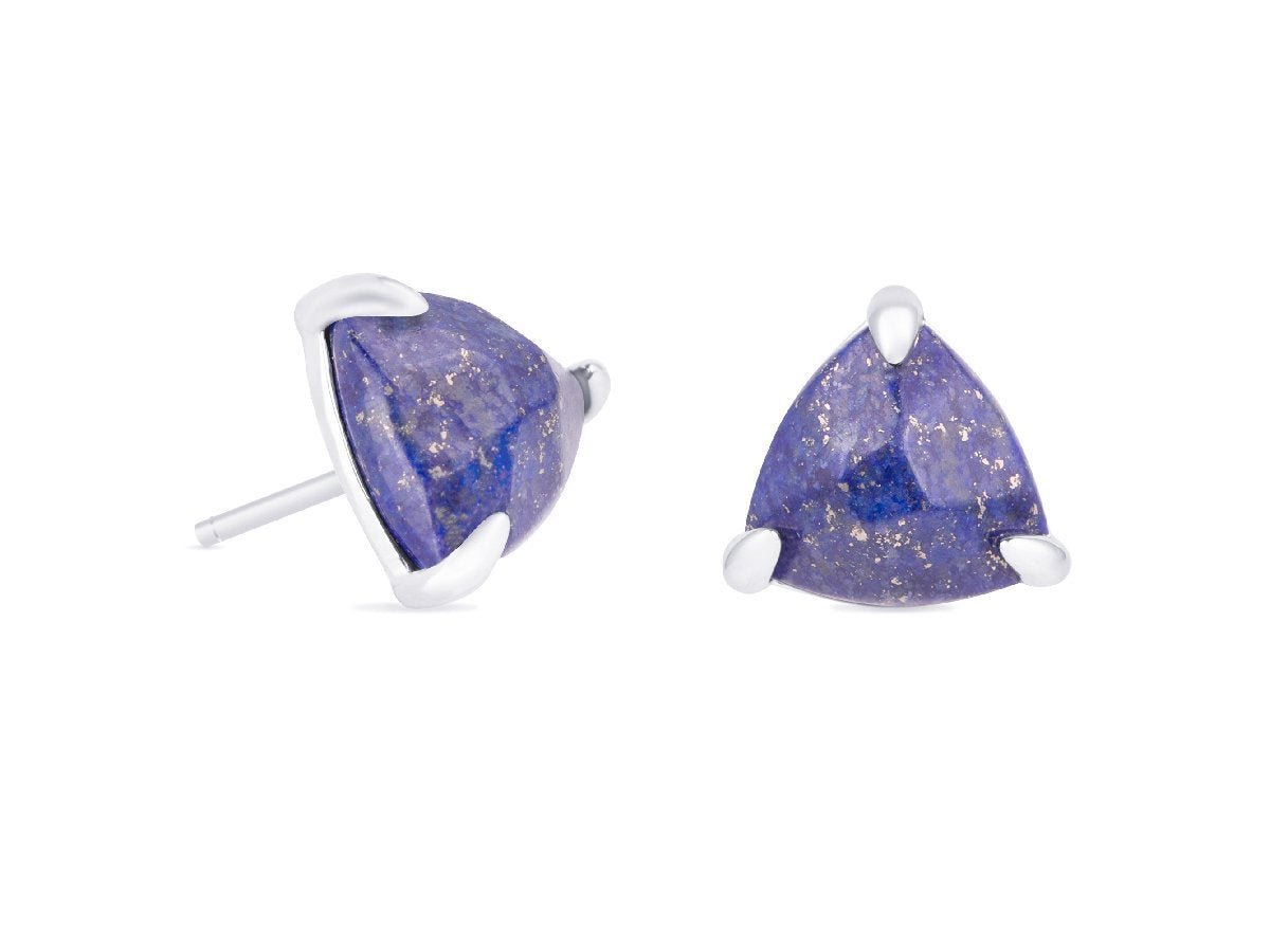 Triangle Lapis Lazuli Stud Earrings
