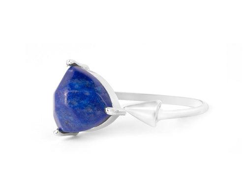 Triangle Lapis Sterling Silver Ring