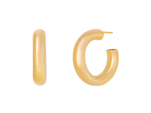 Tube Hoop Earrings in 14k Gold