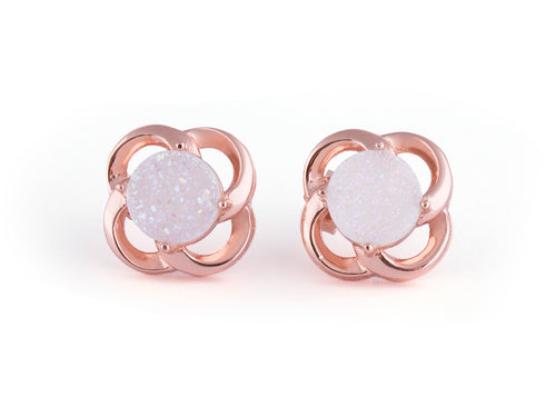 Vortex White Iridescent Drusy Rose Gold Earring