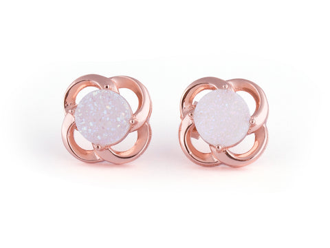 Alina White Druzy Stud Earrings