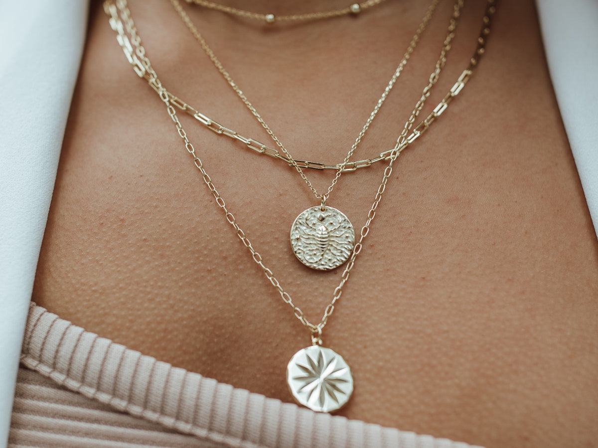 Zodiac Coin 14k Gold Necklace