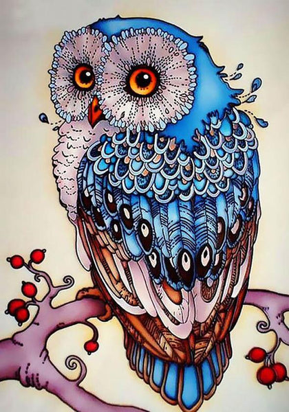 Beautiful Blue Owl - Full Drill Diamond Embroidery