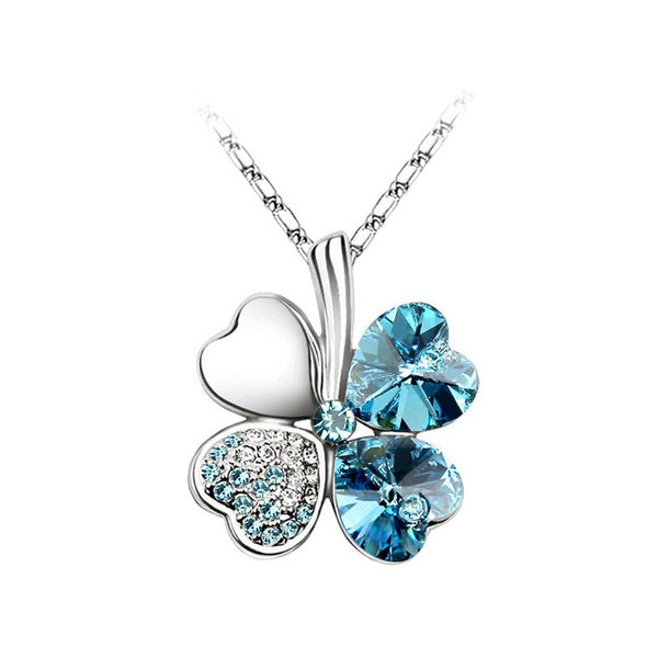 Diva 4-Leaf Clover Lucky Crystal Necklace