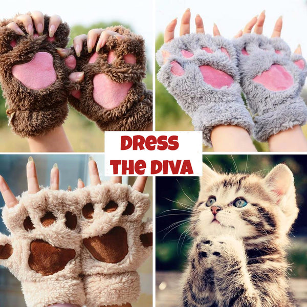 Cute & Fluffy Cat Gloves (Hand Warmer)