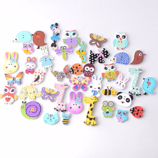 Mixed Animal Buttons (115 Pieces)