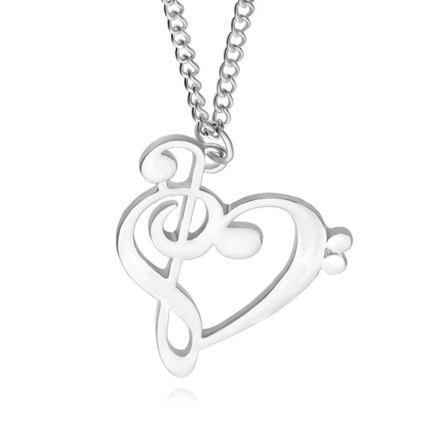 Heart Shape Clef & Treble Necklace