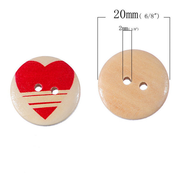 Heart Buttons (50 Pieces)